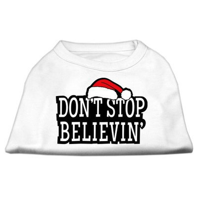 Mirage Pet Products 512503 XXXLWT Dont Stop Believin Screenprint Shirts White XXXL 20