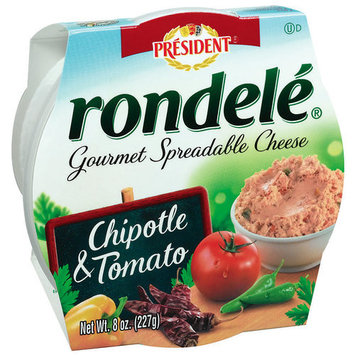 Rondele by President Chipotle & Tomato Gourmet Spreadable Cheese, 8 oz