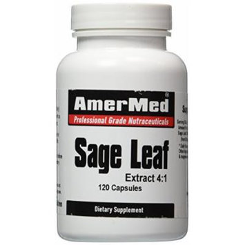 Sage Leaf 120 Capsules, Sage Leaf 3200 Mg Antioxidant Remedy for Menopausal Sweating - Amermed