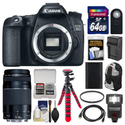 Canon EOS 70D Digital SLR Camera Body with 75-300mm III Lens + 64GB Card + Backpack + Flash + Battery/Charger + Tripod Kit