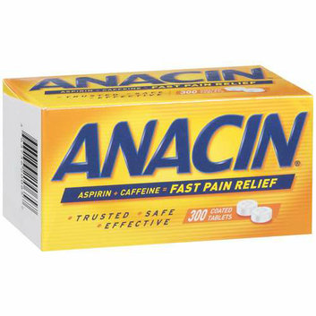 Anacin Fast Pain Relief Coated Tablets w/Aspirin & Caffeine Pain Reliever 300 Ct