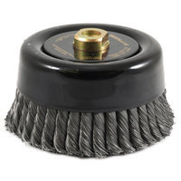 Forney 72871 Wire Cup Brush Industrial Pro Twist Knot with 5/8-Inch-11 Threaded Arbor 6-Inch-by.020