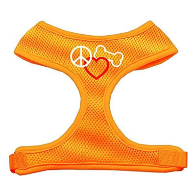 Mirage Pet Products 7017 XLOR Peace#44; Love#44; Bone Design Soft Mesh Harnesses Orange Extra Large