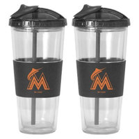 Boelter Brands MLB Marlins Set of 2 No Spill Straw Tumbler - 22oz