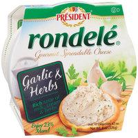 Rondele by President Garlic & Herbs Gourmet Spreadable Cheese, 8 oz