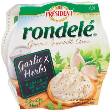 Rondele by President Garlic & Herbs Gourmet Spreadable Cheese, 8 oz