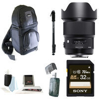 Sigma Art 20mm f 1.4 Lens for Nikon w Compact Sling Backpack 32GB SD Card Bundle
