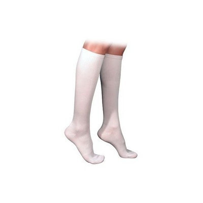 Sigvaris 230 Cotton Series 20-30 mmHg Men's Closed Toe Knee High Sock Size: Small Long, Color: White 00