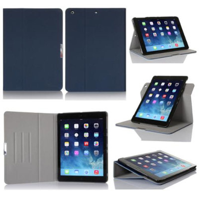 GearIt Apple iPad Air Case - 360 SPINNER Folio Rotating Smart Cover Stand for iPad Air - Twill Dark Blue