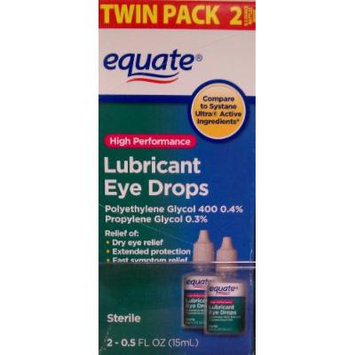 High Performance Lubricant Eye Drops Twinpack by Equate, Compare to Systane