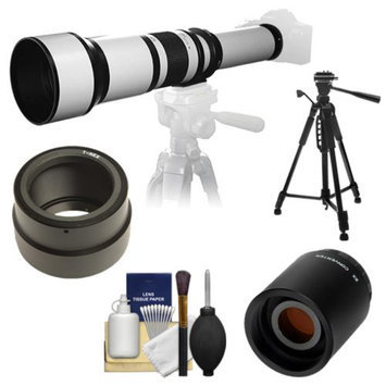 Samyang 650-1300mm f/8-16 Telephoto Lens (White) with 2x Teleconverter (=650-2600mm) + 58