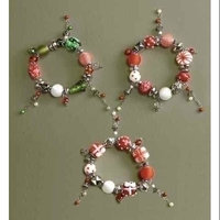 Roman Pack of 6 Candy & Gift Glass Beaded Christmas Charm Bracelets 3