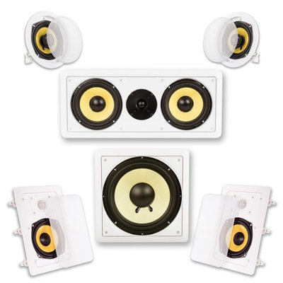 Acoustic Audio HD515 5.1CH In-Wall/Ceiling Home Theater Surround Speaker System