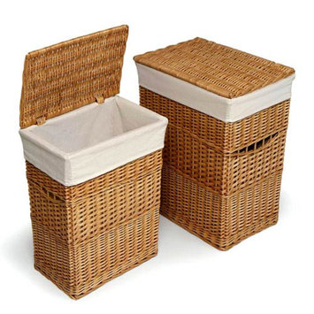 Badger Basket Set of 2 Hampers with Liners - Natural