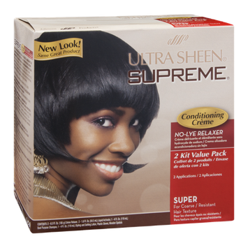 Ultra Sheen Supreme No-Lye Relaxer Conditioning Creme Super - 2 CT