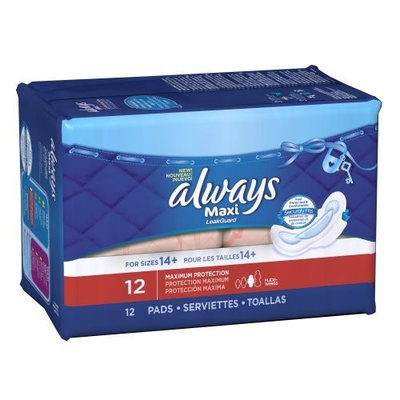 Always Maxi Maximum Protection with Wings, Unscented Pads 12 Count