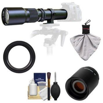 Samyang 500mm f/8.0 Telephoto Lens with 2x Teleconverter (=1000mm) for Sony Alpha DSLR SLT-A35, A37, A55, A57, A65, A77 Digital SLR Cameras