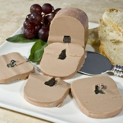 Duck Foie Gras Marinated in Port Wine with 3% Truffles - Shelf Stable / Ready to Eat, Block, by Rougie - 1 tin, 5.1 oz
