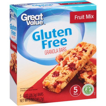 Wal-mart Stores, Inc. Great Value Gluten Free Fruit Mix Granola Bars, 1 oz, 5 count