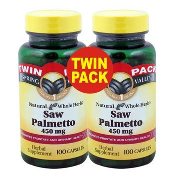 Spring Valley Whole Herb Saw Palmetto 900mg 200ct ONE Twin Pack (Two Bottles of 100ct Each)