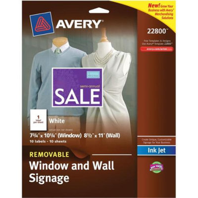 Avery Dennison Printable Window Decal Label, 8-1/2