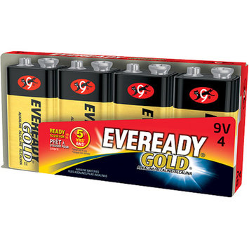 Gold Alkaline Batteries, 9V, 4 /Pk