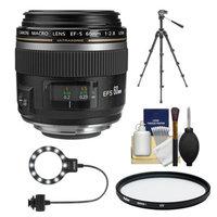 Canon EF-S 60mm f/2.8 Macro USM Lens with Tripod + UV Filter + Macro Ring Light Kit for EOS 6D, 70D, 5D Mark II III, Rebel T3, T3i, T4i, T5, T5i, SL1 DSLR Cameras