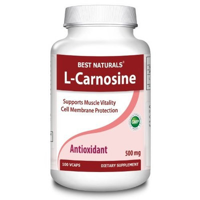 #1 L-Carnosine 500mg 100 Vcaps by Best Naturals -- Supports Muscle vitality -- Manufactured in a USA Based GMP Certified Facility and Third Party Tested for Purity. Guaranteed!!