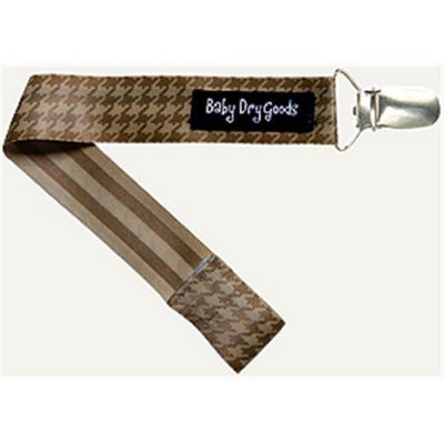 Baby Dry Goods 03012 DkLt Brown Houndstooth Pacifier Clip