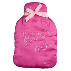 Bombay Duck Kiss Me Diamante Hearts Satin Hot Water Bottle Cover