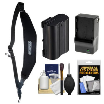 OP/Tech Op/Tech USA Neoprene Utility Digital SLR Camera Strap-Sling (Black) with EN-EL15 Battery & Charger + Accessory Kit for D7100, D7000, D600, D800