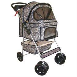 BestPet Classic 4 Wheel Leopard Skin Pet Stroller