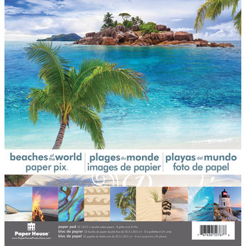 Paper House Double-Sided 12x12 Paper Pad - Beaches of the World - 24 Sheets