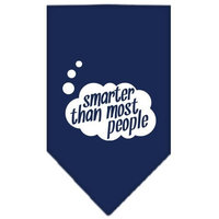 Mirage Pet Products 6672 SMNB Smarter then most People Screen Print Bandana Navy Blue Small