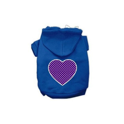 Mirage Pet Products Purple Swiss Dot Heart Screen Print Pet Hoodies Blue Size XS (8)