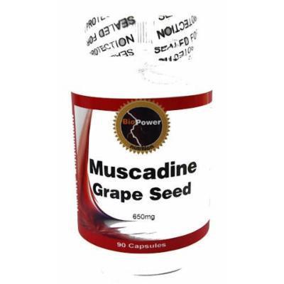 Muscadine Grape # Seed 650 mg 90 Capsules BioPower Nutrition