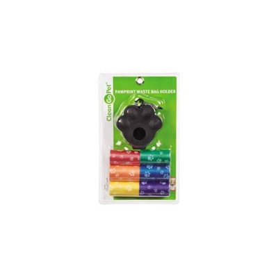 Clean Go Pet ZW6289 08 10 Pawprint Waste Bag Holder 7 Pk Rainbow