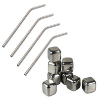 HealthPro Drinkers Kit - Includes 4 Titanium Super Strong Lightweight Drinking Straws & 8 Stainless Steel Ice Cubes