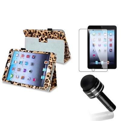 Insten iPad Mini 3/2/1 Case, by INSTEN Black/Brown Leopard Flip Folio Leather Case Stand For iPad Mini 1 2 3 +Pen Protector