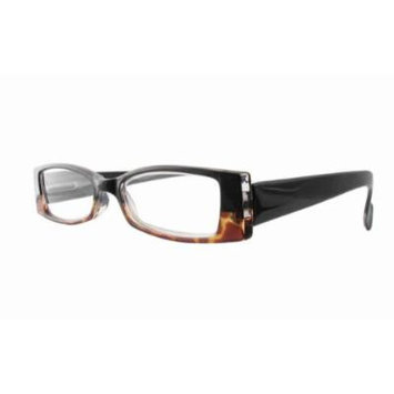 Calabria 4371 Bi-Color Reading Glasses w/ Case in Black-Tortoise +3.5