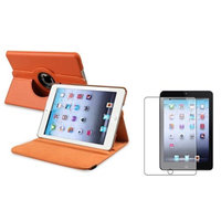 Insten iPad Mini 3/2/1 Case, by INSTEN Orange 360 Leather Case Cover+Matte LCD Protector for iPad Mini 3 2 1