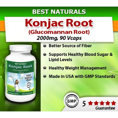 Best Naturals Konjac Root Glucomannan Root, 2000 Mg, 90 Veggie Capsules