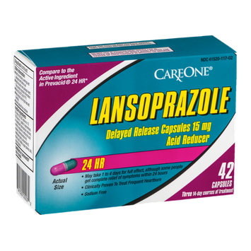CareOne Lansoprazole Delayed Release 15mg Acid Reducer 24 HR Capsules