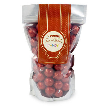 Sweetworks Foil-Wrapped Solid Milk Chocolate Balls, 1 Lb, Red, Pack Of 16