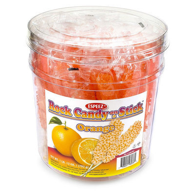 Espeez Rock Candy Sticks, 7in, Orange, Pack Of 36