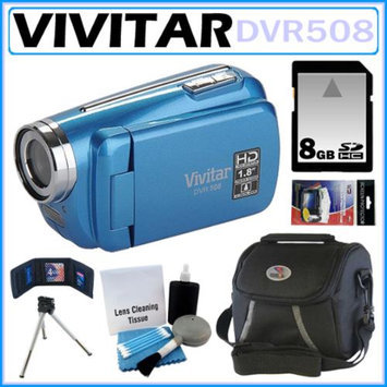 Vivitar DVR508 High Definition Digital Video Camcorder Blue + 8GB Kit
