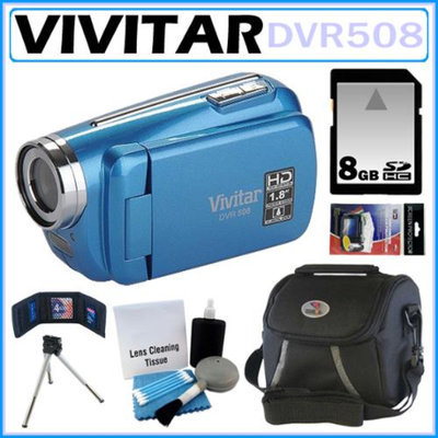 Vivitar DVR508 High Definition Digital Video Camcorder Blue + 8GB Kit