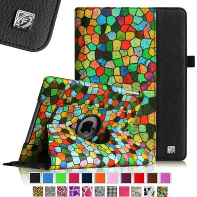 Fintie iPad Air 2 Case - 360 Degree Rotating Stand Case with Smart Cover Auto Sleep / Wake Feature, Stained Glass Black