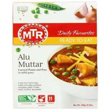MTR Alu Muttar,Curried Potato and Peas in Mild Gravy, 10.58-Ounce Boxes, (Pack of 5)