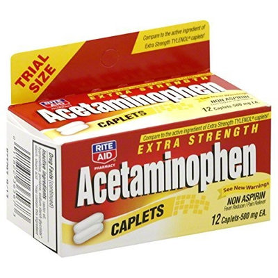 Rite Aid Brand Rite Aid Acetaminophen, Extra Strength, 500 mg, Caplets, Trial Size 12 caplets